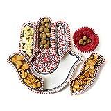 Kamsah - Juego de platos y plato de servir (7 piezas, hecho a mano, cerámica...