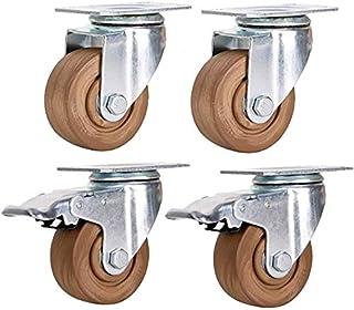 Robuuste wielen, 75 mm, 400 kg, industriële wielen, transportwielen van nylon, draaibaar, universeel met rem voor fabriek,...