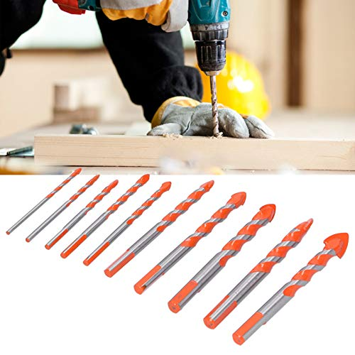 Drill Bits, Strong Toughness General 10PCS Drill Firmly Drilling Bit, Multifunctional Glass for Concrete Tiles Brick
