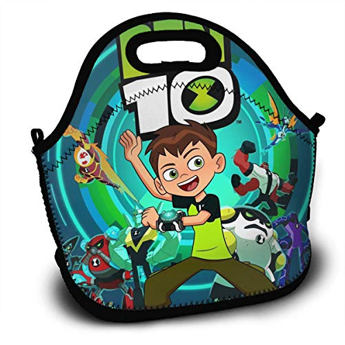 CNJELLAW B-Ben-10 Novelty Reusable Lunch Bags Lunch Tote Lunch Container Sack Backpack for Office & School