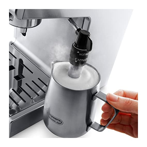 """De'longhi bar pump espresso and cappuccino machine, 15"""", stainless steel 5 15 bar professional pressure assures quality results every time second tier drip tray to accommodate larger cups removable 37 ounce water tank. Full stainless steel housing"""