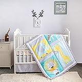 La Premura Safari Baby Nursery Crib Bedding Sets – Giraffes, Zebra, Elephants, & Lions 3 Piece Standard Size Crib Set in Yellow, Turquoise & Gray