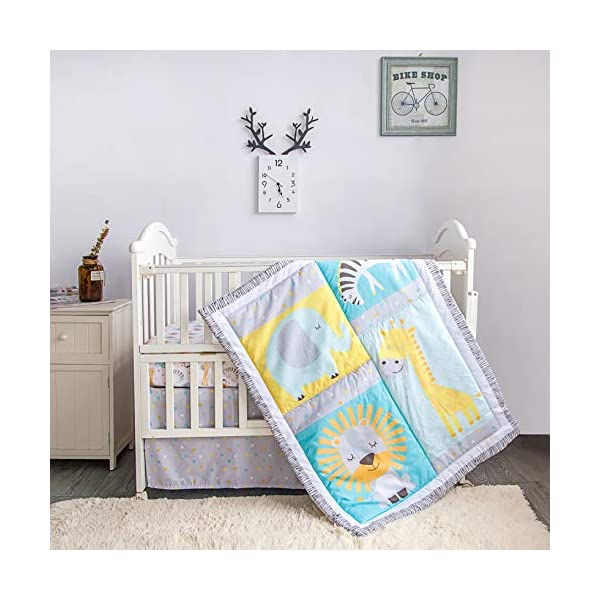 La Premura Baby Nursery Grey Crib Bedding Sets – 3 Piece Standard Size Grey Crib Set – Nursey Bedding and Neutral Decor
