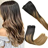 KOCONI Balayage Clip in Hair Extensions Ombre Blonde Full Head Clip In Remy Human Hair Extensions 7pcs 120g (20', T(1B-6) P(T1B-18))
