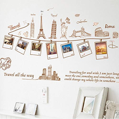 LETAMG Stickers Muraux Cadre Photo De Famille World Trip Wall Sticker Home Decor pour Le Salon Chambre Décoration Stickers Affiche DIY Autocollants