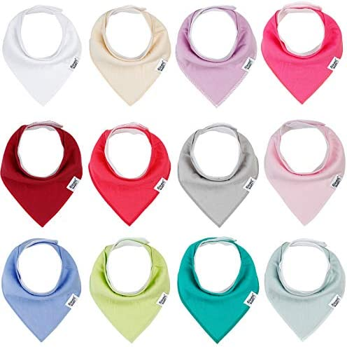 Baby Bandana Drool Bibs for Girls 12 Pack Solid Colors Baby Girl Bibs Set Absorbent 100 Organic product image