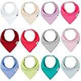 Baby Bandana Drool Bibs for Girls,12 Pack Solid Colors Baby Girl Bibs Set,Absorbent 100% Organic Cotton for Newborn Teething and Drooling,Adjustable Snaps Toddler Bibs