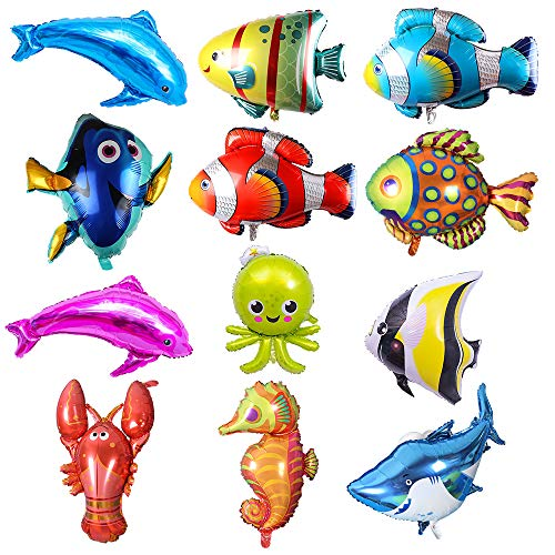 Puselo 12pcs Large Fish Foil Balloons Sea Animal Balloons Sea Creatures Tropical Fish Balloons for Kid Birthday Party Decorations