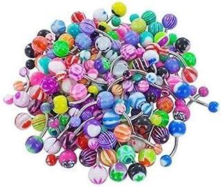 60pcs Surtido de Bolas de Colores Piercing Lengua Pezón Anillo Barras de Botones Profesional joyería Piercing Multi usos d...
