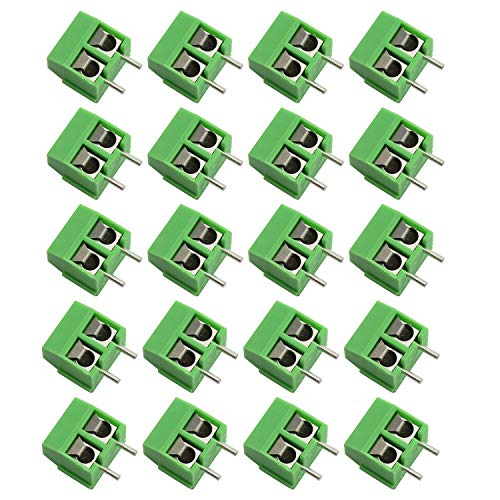 Tegg 20 PCS 5mm 2 Pin Screw Terminal Block Connector PCB Mount for Arduino 300V 10A
