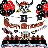 48x Barco pirata Decoraciones de cumpleaños para niños - Sea Rover Pancarta de feliz cumpleaños, Mantel de piratas, Gorra & Parche en el ojo & Espada-globo para Cosplay, Detalles Fiesta de Infantiles