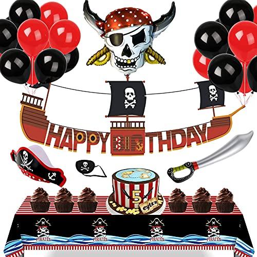 Navire pirate Décorations d'anniversaire pour enfants - Mer Rover Bannière joyeux anniversaire, Nappe Pirates, Casquette & Cache-oeil & Epée-ballon pour le Cosplay, Grands ballons Fournitures de fête