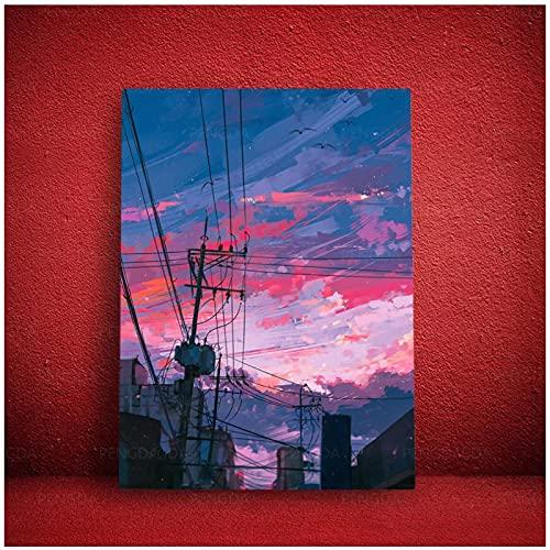 WSTDSM Pintura En Lienzo Temprano En La Mañana Impresión Modular Rising Sun Poster Arte De La Pared Imagen En HD Animación Scereny Decoración para El Hogar Dormitorio -24X32 Pulgadas X1 Sin Marco