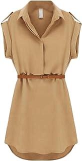 فستان قصير من DressU نسائي واسع الحجم مزود بحزام، كم باساور من الشيفون
