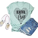 Beautiful Crazy Country Music T-Shirt Women Concert Funny Letter Printed Graphic Casual Tee Tops XL Green