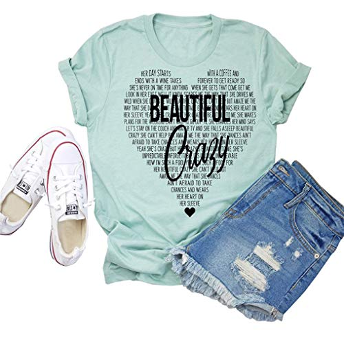 Beautiful Crazy T-Shirt Women Funny Cute Inspirational Letter Printed Graphic Casual Tee Tops XL Green