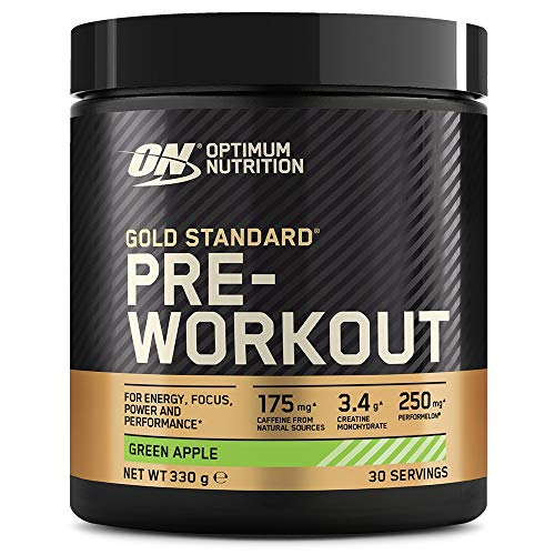 Optimum Nutrition Gold Standard Pre Workout Powder, Energy Drink with Creatine Monohydrate, Beta Alanine, Caffeine and Vitamin B Complex, Green Apple, 30 Servings, 330 g, Packaging May Vary