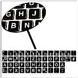 SkinoEu® 1 x Vinile Stickers Adesivi Lettere per Tastiera Tedesca Germano Qwerty Keyboard Nero Del Taccuino Laptop Computer Portatile PC B 263