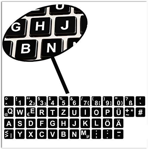SkinoEu® 1 x Deutsche DE Tastaturaufkleber Tastatur Aufkleber Keyboard Stickers für PC Laptop Notebook Computer Schwarz B 263