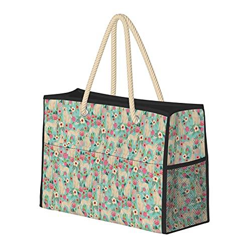 Bolsa de playa grande y bolsa de viaje para mujer – Bolsa de piscina con asas, bolsa de semana y bolsa de noche – Golden Retriever perro flores flores