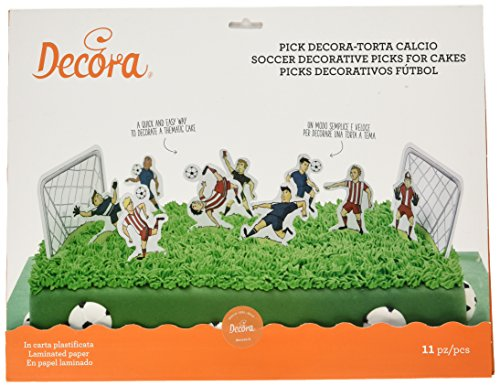 Decora- KIT 11 Pick Torta Calcio Piques DÉCORATIFS Foot, 9260130, Coloris Assortis