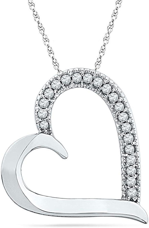 10kt White gold Womens Round Diamond Heart Outline Pendant 1 10 Cttw