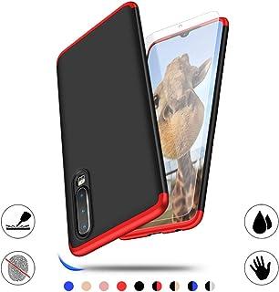 AChris Huawei P30 Carcasa Ultra Fina Protectora cojín, 3 in 1 Hard Caja Caso Skin Case Cover Carcasa parai Huawei P30- Negro Rojo