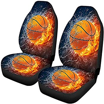 HUGS IDEA Car Front Seat Covers Full Set of 2 Universal Fit Most SUV Truck Sedan Vans Cool Fire 3D Basketball Pattern Bucket Protector