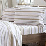 Great Bay Home Extra Soft 100% Turkish Cotton Heavyweight Flannel Sheet Set. Warm, Cozy, Luxury Winter Bed Sheets. Raye Collection (King, Taupe - Stripe)