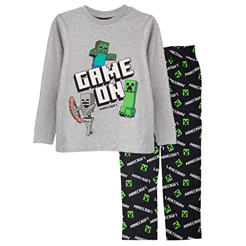 Minecraft En Juego Chicos Larga Pijamas Set Negro/Gris Brezo 110 | Regalos PS4 PS5 del Jugador de Xbox, los Chicos del Colegio Pijamas, Ropa de los niños, niños y Regalo de cumpleaños Idea