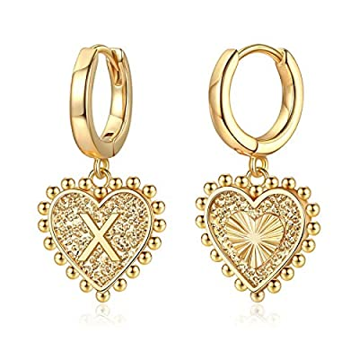 Heart Initial Earrings for Girls Women, S925 St...