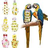 Nuanchu 6 Pañales de Pájaro Pañales Lavables para Loros Pañales Reutilizables para Traje de Vuelo de Pájaro Ropa Protectora de Pañal de Loro con Capa Interior Impermeable, Estilo de Fruta (Medio)