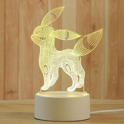 Creativity 3D Ilusiones Animales Animales Lámpara LED Luz de Noche Luz 3 Colores Regulables Interruptor de Luz de Noche para Niños USB Recargable Lámpara de Mesa Perfecta Decoración de Dormitorio