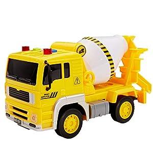 Buyger Coche Camion de Juguetes para Bebe Niños Construccion Coches de Friccion Hormigonera Vehículos Juguete con Luces y Sonido Navidad Cumpleaños Regalo para 3 4 5 Años