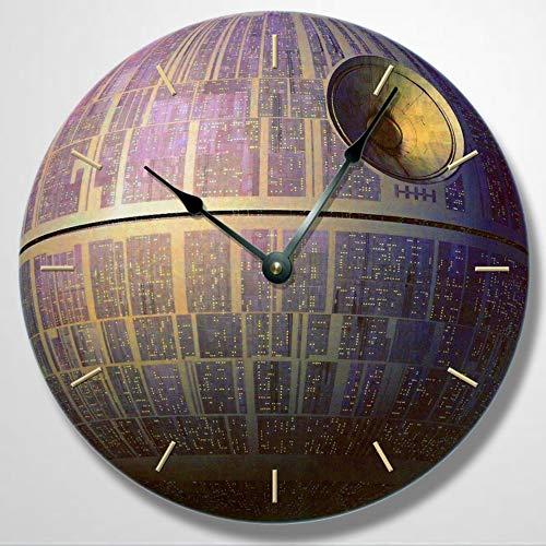 Reloj de pared con diseño de estrella de la muerte, reloj de pared redondo reloj de pared único reloj de pared de madera de 30,5 cm, funciona con pilas, decoración de pared de granja