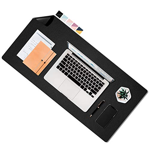 Beanco Tech Dual Sided Leather Desk Pad 315 x 157 Mouse Pad Laptop Desk Mat Waterproof Desk Writing Pad for Office and Home Black