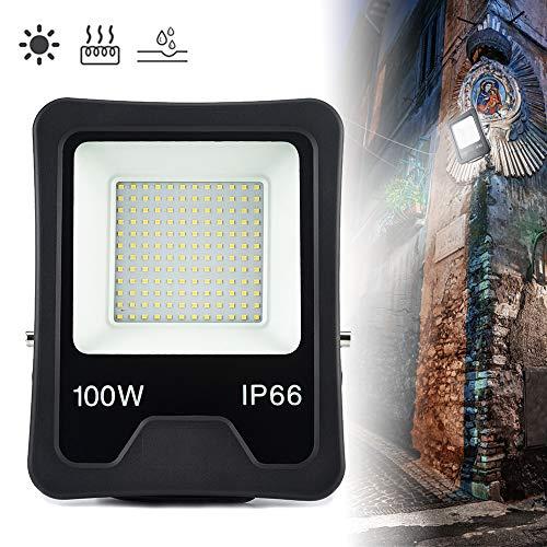 Froadp 100W LED Außenstrahler Tragbar Scheinwerfer Aluminiumgehäuse Flutlicht IP66 Wasserdicht Überspannungsschutz Sicherheitsbeleuchtung mit Blitzschutz für Gärten Villen Parks Stadien(Kaltweiß)