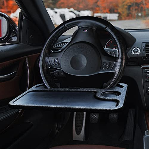 EcoNour Car Steering Wheel Desk 2 in 1   Car Tray Table   Laptop and Cup Holder for Car   Car Accessories   Car Trays for Eating   Car Multifunctional Main Driver Card Table   Car Food Trays for Adult