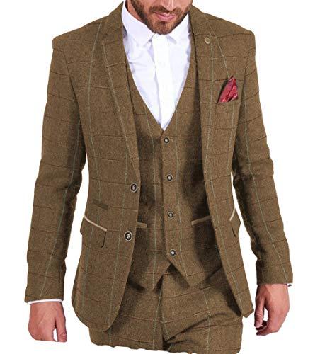 MoranX Casual Herren Anzüge 3 Teilig Wolle Kariert Fischgrätenmuster Tweed Smoking Business Jacke Blazer Weste Hose Hochzeitsanzug(Braun,50)