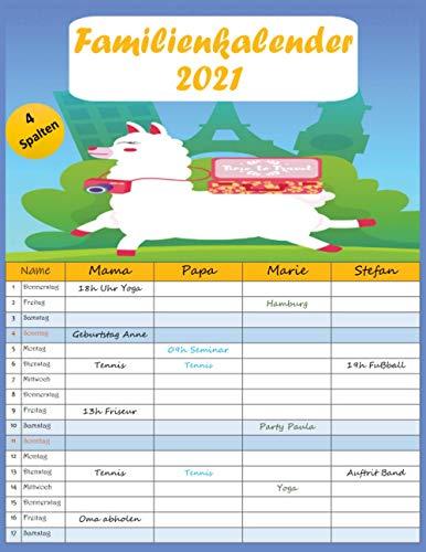 familienkalender 2021: kalender familienplaner mit 4 breiten Spalten. Hochwertiger Familienkalender mit Ferienterminen, Vorschau bis März 2022.