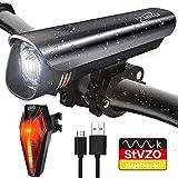 IZUKU LED Fahrradlichter Set StVZO Zugelassen Fahrradbeleuchtung Set mit Wasserdicht USB Wiederaufladbare Fahrradlicht Set Frontlicht/Lichter mit Samsung Li Akku Rücklicht Blendfreie Fahrradlampe Set