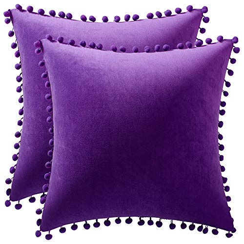 DEZENE Throw Pillow Covers with Pom-poms, 2 Pack Super Soft Velvet Decorative Pillow Cases, Luxury Accent Rectangular Pillowcases, Square Cushion Covers for Farmhouse,Couch,Sofa, 24x24 Inch, Purple
