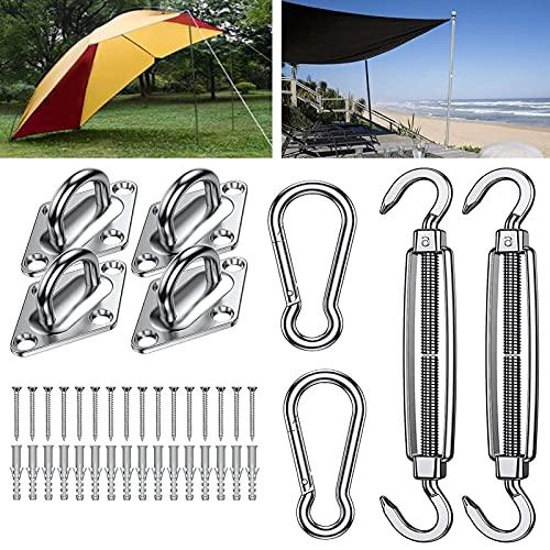 NGLSCXR Kit de vela de Sun Shade, conjunto de accesorios de toldos, conjunto de accesorios de instalación, kit de hardware de acero inoxidable de sun shade de servicio pesado, para jardín al aire libr