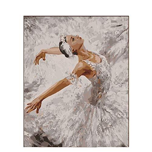 mlpnko Weiße Kleidung Tänzer Figur DIY Digitale Malerei Kunst Leinwand einzigartige Geschenk Hauptdekoration 40X50cm Rahmenlos