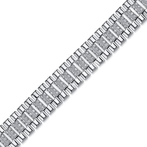 Jewelco London Pulsera de plata de ley chapada en rodio con circonita cúbica redonda para hombre, 15 mm, 21,5 cm