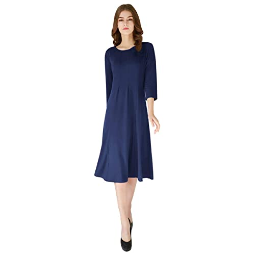 8a4f0bda620 YMING Women s Casual Midi Dress A Line Shirt 3 4 Sleeve Swing Dress Cotton  Elegant