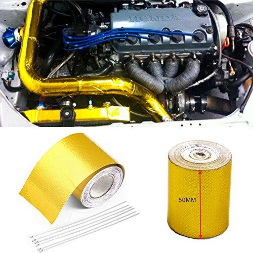 Orel_carparts 5M X 5CM Gold Aluminiumfolie Hitzeschutzband Selbstklebend Auspuff Krümmer Reflektierend Hitzeschutz Tape Band Rolle mit 6 Stk Kabelbinder (5M X 5CM)