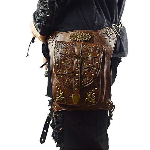 DXENXPG Riñonera Punk Bolsa de Pecho Steampunk Mujeres Diagonal Amplio Strap Strap Wild Retro Bolsa de Pecho Hombre Bolso de la Cintura Bolsos Cruzados (Color : Marrón, Size : One Size)