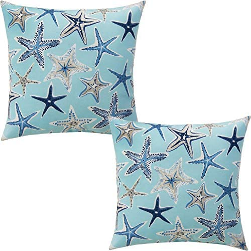 Best ZUEXT Aqua Starfish Nautical Throw Pillow Covers 18x18 Inch Set of 2, Double Sided Cotton Linen Poly