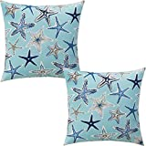 ZUEXT Aqua Starfish Nautical Throw Pillow Covers 18x18 Inch Set of 2, Double Sided Cotton Linen Polyester Ocean Sea Life Starstruck Outdoor Coastal Boat Pillowcase for Sofa Beachy Pirate Home Decor